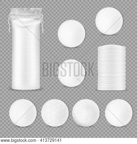 Cotton Pads Packaging, Healthcare 3d Vector Mockup. Makeup Soft Discs In Plastic Package With String