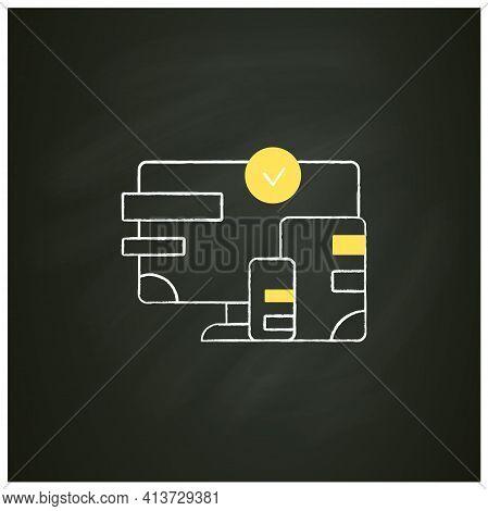 Cross Platform Design Chalk Icon. Website Design. Icons, Appearance, Labels. Creating On Laptop. Dig