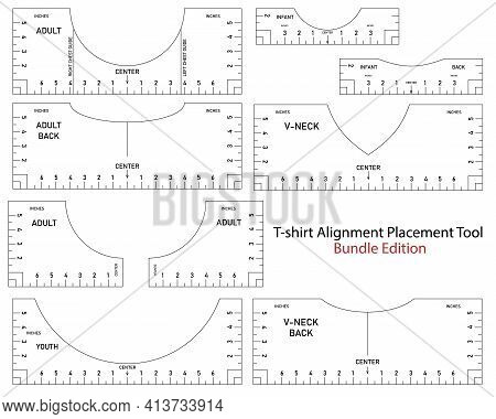 T Shirt Ruler Vector Mega Bundle. T-shirt Alignment Placement Tool Adult, V-neck, Youth - Front, Bac