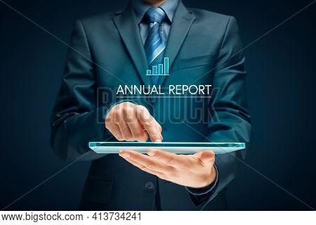 Annual Report Concept On Digital Tablet. Financier, Accountant Or Investor Read Company Annual Repor