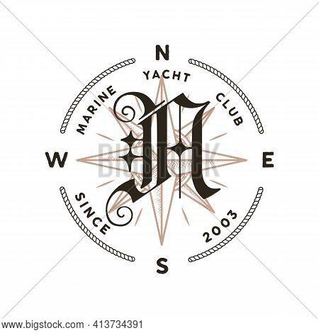 Monogram Logo Design. Classic Monogram - Marine Yacht Club. Stylish Badge For Web And Print. Stock V