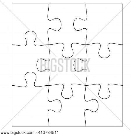 Blank Jigsaw Puzzle 9 Pieces. Simple Line Art Style For Printing And Web. Stock Vector Illustration
