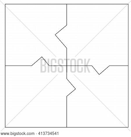 Unusual Abstract Blank Rectangle Jigsaw Puzzle With 4 Pieces. Simple Line Art Style For Printing And
