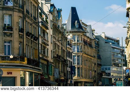 Reims France March 22, 2021 Facade Of A Historical Building Located In Reims, A City In The Grand Es