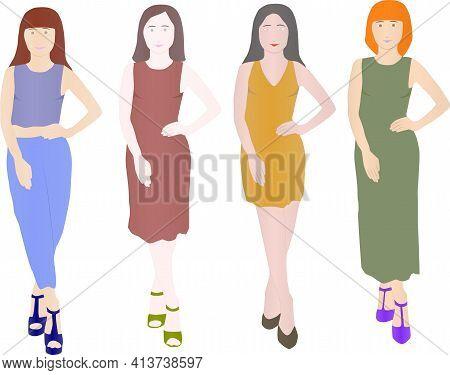 Illustration Of Fashion Model Girls On The Catwalk