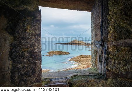 St-malo, France, Sept 2020, View Through A Opening In The Rampart Of A Fort On Grand Bé A Tidal Isla