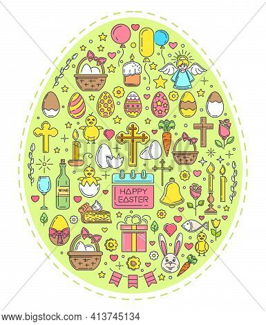 Easter Line Icon Set. Colored Easter Symbols Collection. Colored Icons Arranged In The Shape Of An E
