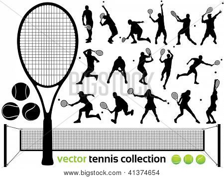 Tennis Players Silhouettes - Vector tennis collection.  (High Detail!) Check out my portfolio for other silhouettes. Enjoy poster