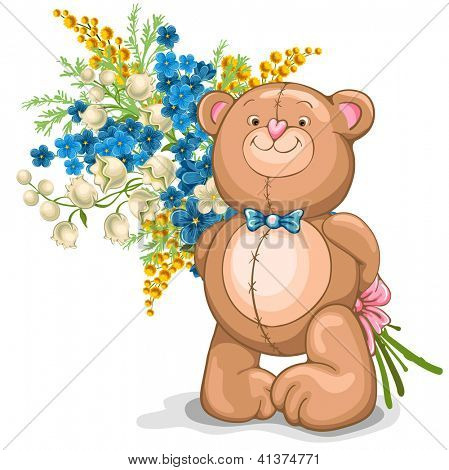Cute illustration of Teddy Bear with a bouquet of flowers