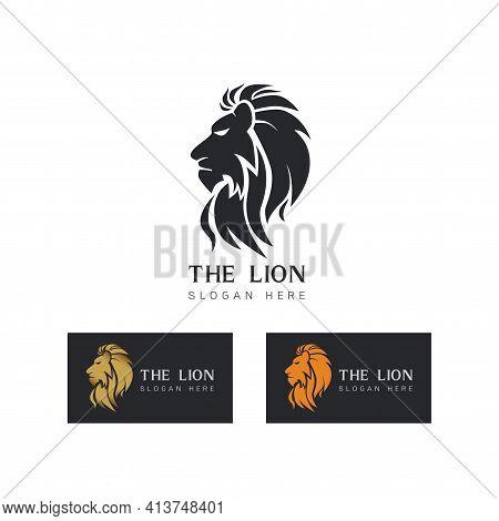 Stylized Image Of Graceful Lion King Silhouette Logo Icon Emblem Template ,set Of Elegant Lion Head