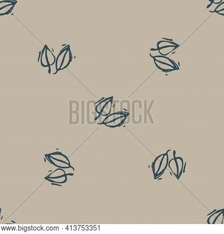 Handmade Carved Forest Leaf Block Print Seamless Pattern. Rustic Heritage Folk Art Woodland Backgrou