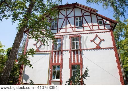 Old Half Timbered House. Front View. Summer.