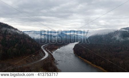 Valley Of The Mountain River Anyuy. Khabarovsk Territory In The Far East Of Russia. The View Of Anyu