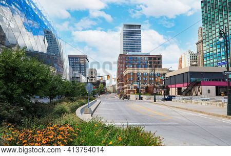 Detroit, MI - August 30, 2020: Downtown Detroit contains a lot of historic architecture, including prominent skyscrapers, churches, theaters and parks