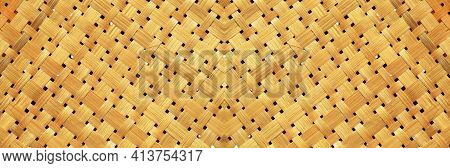 Bamboo Woven Textured, Detail Handcraft Bamboo Weaving Texture Backgrounds, With Yellowed Colors Nat
