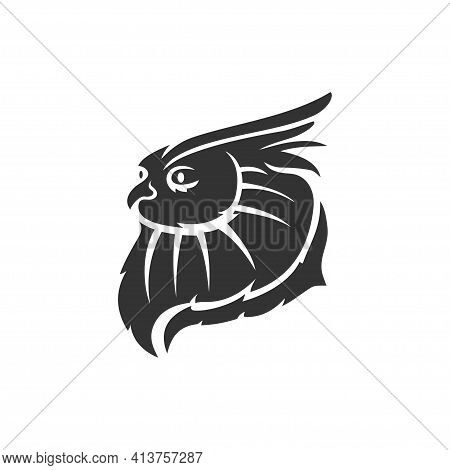 Owl Head Mascot Illustration Template Isolated In White Background