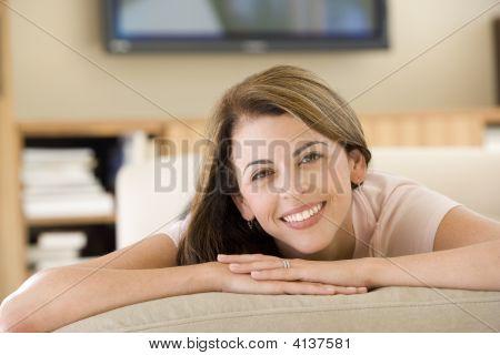 Woman Lying In Living Room