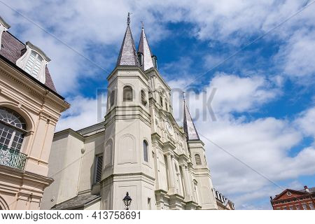New Orleans, La - October 24: St. Louis Cathedral And Surrounding Buildings In The French Quarter On