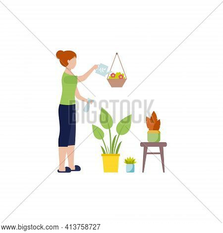 Girl In Home Clothes Watering Flowers. A Housewife Takes Care Of Plants In A Flower Pot. Vector Fema