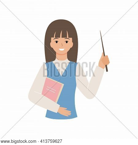 Friendly Teacher With A Pointer And A Smile. Flat Illustration Of A Teacher Isolated On A White Back