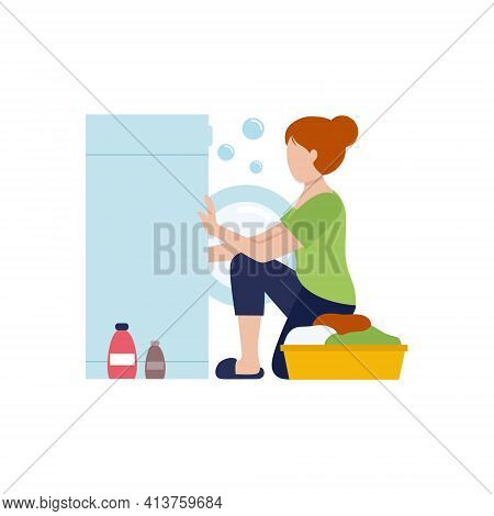 Housewife Girl Puts Clothes In The Washing Machine. Washing Clothes With Powder. Vector Flat Charact