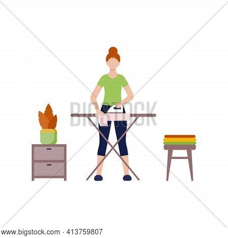 A Woman In Home Clothes Irons Things. Ironing Clothes On The Ironing Board.  Flat Vector Character.