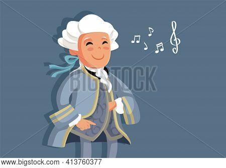 Little Wolfgang Amadeus Mozart Musician Child  Vector Cartoon