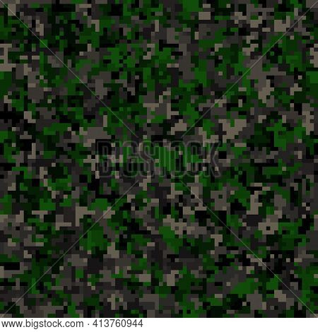 Abstract Seamless Pattern With Green Colored Chaotic Circles On Dark