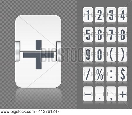 Vector Old Time Meter Of Number And Symbol. Retro Scoreboard Modern Ui. White Analog Flip Airport Bo