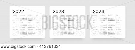 Monthly Calendar For 2022, 2023 And 2024 Years. Week Starts On Sunday.