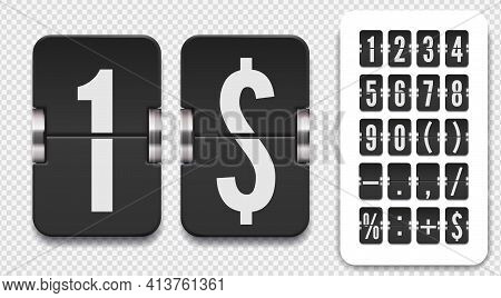 Set Of Flip Scoreboard Numbers And Symbols With Shadows For Countdown Timer. Vector Template On Tran