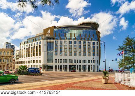 Havana Cuba. November 25, 2020: Hotel Paseo Del Prado, Modern Building On The Malecon In Havana. Pla