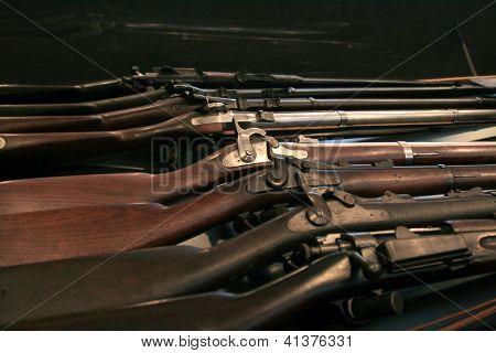 Display of vintage guns