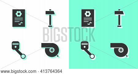 Set Automotive Turbocharger, Service Check Automotive, Engine Piston And Hammer Icon. Vector