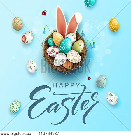 Easter Blue Composition, Eggs In A Basket With A Beautiful Pattern, Bunny Ears, Snowdrops Flowers