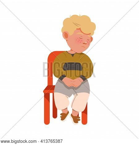 Little Blond Boy Afraid Of Punishment Sitting On Chair With Guilty Look Vector Illustration