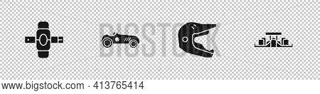 Set Knee Pads, Vintage Sport Racing Car, Motocross Motorcycle Helmet And Formula 1 Icon. Vector