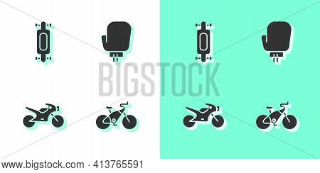 Set Bicycle, Longboard Or Skateboard, Motorcycle And Boxing Glove Icon. Vector