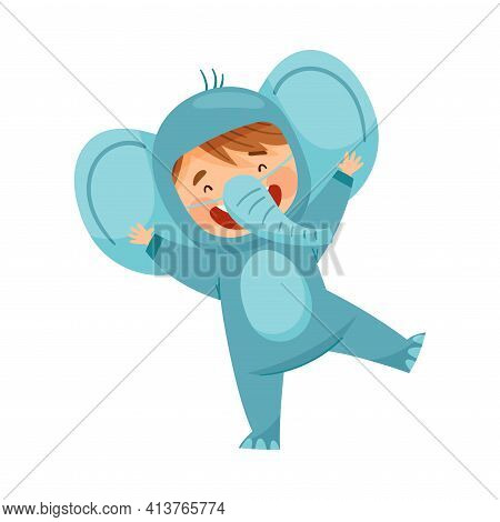 Cute Boy Wearing Elephant Costume Role Playing And Having Fun Vector Illustration