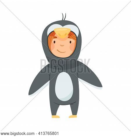Cute Girl Wearing Penguin Costume Role Playing And Having Fun Vector Illustration