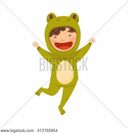 Cute Boy Wearing Green Frog Costume Role Playing And Having Fun Vector Illustration