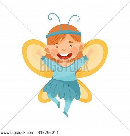 Cute Redhead Girl Wearing Butterfly Costume Role Playing And Having Fun Vector Illustration