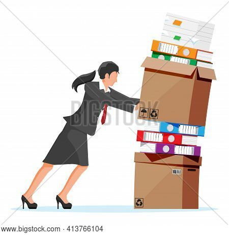Stressed Businesswoman Pushing Pile Of Office Documents. Overworked Business Woman With Stacks Of Pa