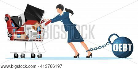 Woman Chained To Big Heavy Debt Weight With Shackles, Pulling Shopping Cart With With House Building