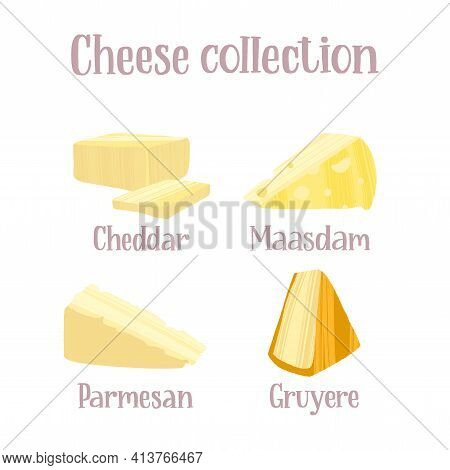 Cheese Collection. Different Kinds Of Cheeses. Cheddar, Maasdam, Parmesan And Gruyere.