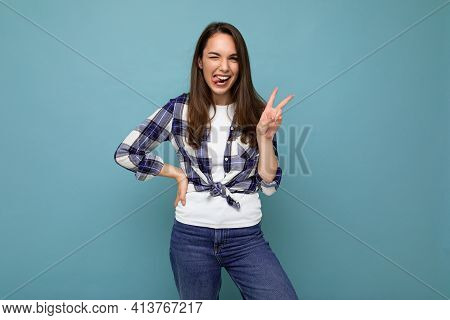 Young Positive Happy Beautiful Winsom Brunette Woman With Sincere Emotions Wearing Check Shirt Poisi
