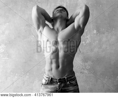 Athlete Young Man. Sexy Muscled Male Model Strong Nude Body. Naked Torso, Six Pack Abs.