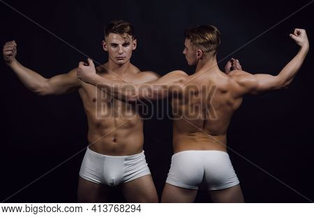 Sexy Muscled Male Models With Strong Nude Body. Naked Torso, Six Pack Abs