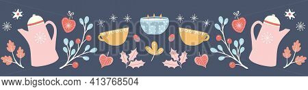 Hygge Autumn And Winter Pattern Border Illustration. Cute And Cosy Fall Banner Design Of Coffee Jug,