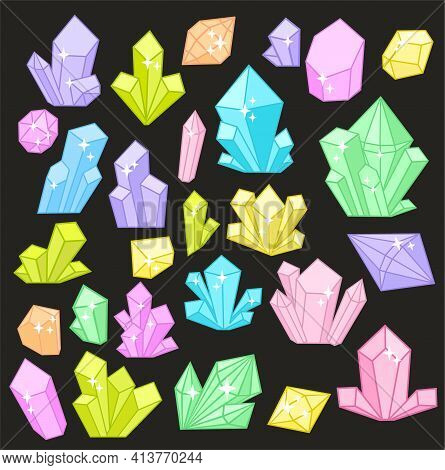 Beautiful Pastel Crystals Drawing On A Dark Background. Vector Illustration Of Natural Crystal Gem.